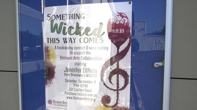 Poster for Belmont Arts Collaborative's fundraising event