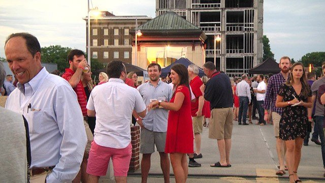 People gathered on the roof of the Water Street Parking garage for the party.