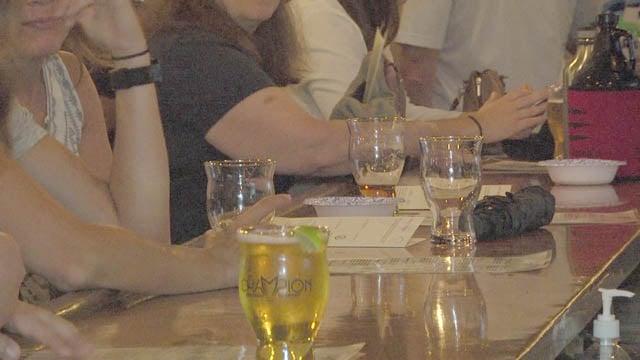 Attendees enjoying their drinks