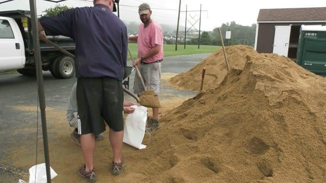 Filling up sandbags at Darden Towe Park