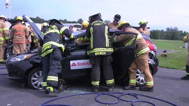 Firefighters worked on more modern cars at the training