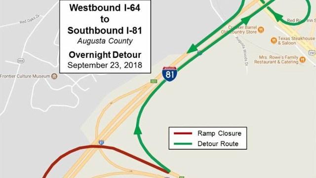 Detour at I-64/I-81 interchange.