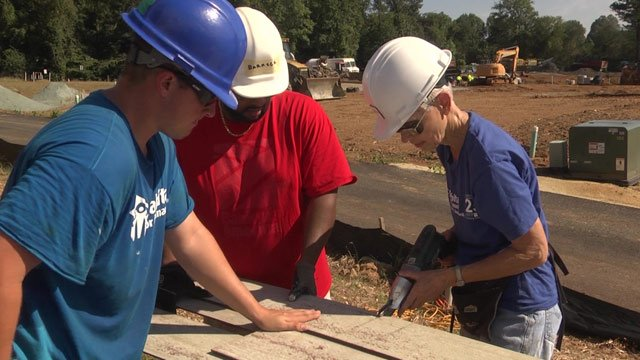 Bank of America employees volunteered to held build for Habitat for Humanity.