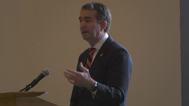 Northam spoke to the group at the University of Virginia.