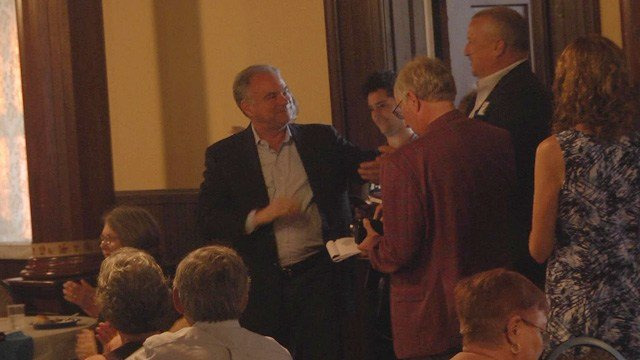 Senator Tim Kaine was also at the Paint the Valley Blue event.