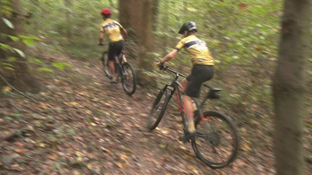 Members of Monticello High School's mountain biking team