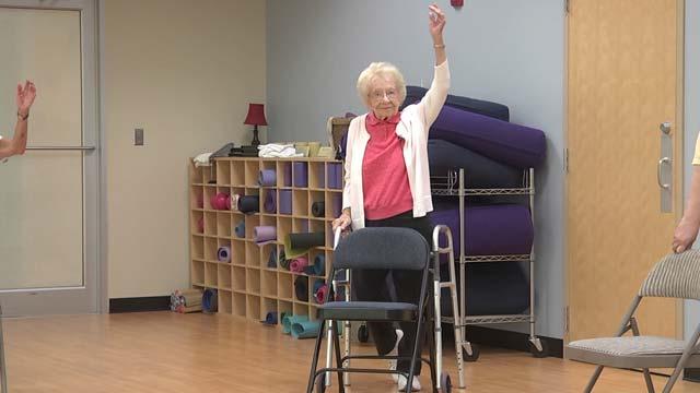 Irene Lambert attends class three times a week