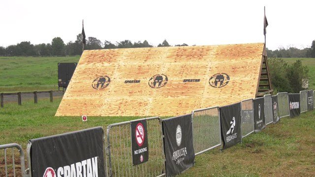 Set up for Spartan Race event in Nelson County