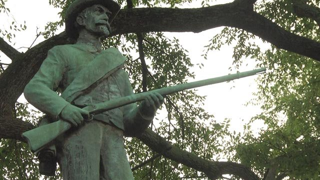 Statue of a Confederate soldier outside Albemarle County's historic courthouse