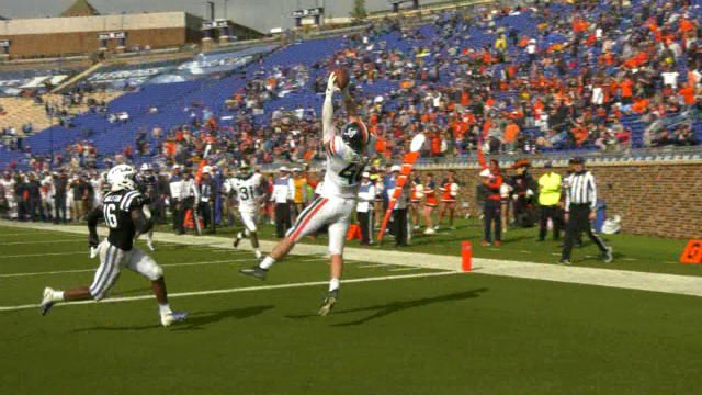 Evan Butts made a leaping catch at Duke