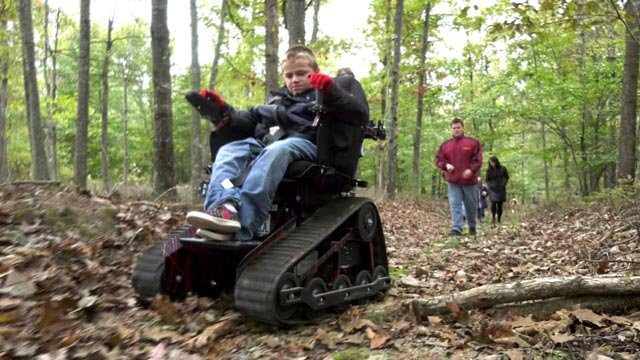 Jesse Blevins using his track chair