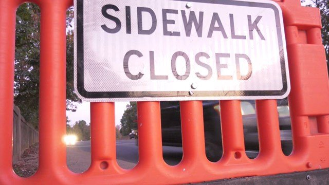 Closed off sidewalk along Route 250 in Charlottesville