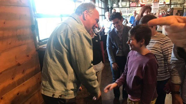 Tim Kaine meeting with supporters at Starr Hill Brewery