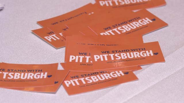 UVA alumni handed out stickers to show support for Pittsburgh