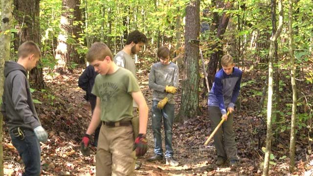Volunteers helped expand Preddy Creek Trails on Nov. 3