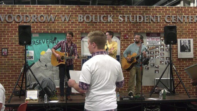 The event had live music, food, and election stickers.