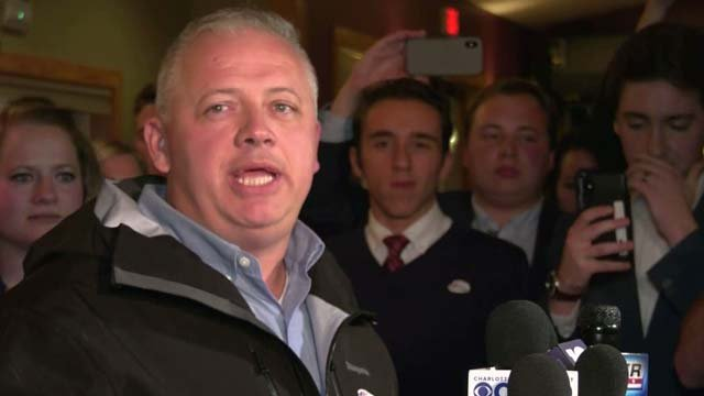 Denver Riggleman at his victory party at Blue Mountain