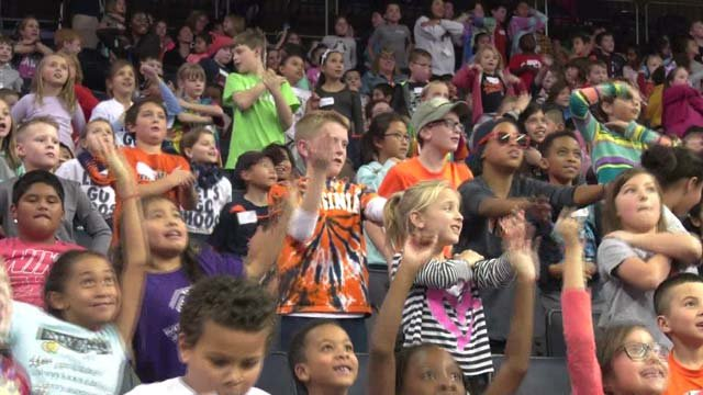 Kids came out to the basketball game to get a taste of college sports