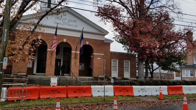 Barriers set up in front of Charlottesville Circuit Court