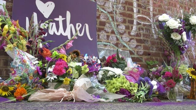 Community memorial along Fourth Street for Heather Heyer (FILE IMAGE)