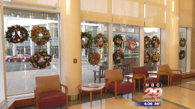 Auction wreaths on display at UVA Cancer Center.