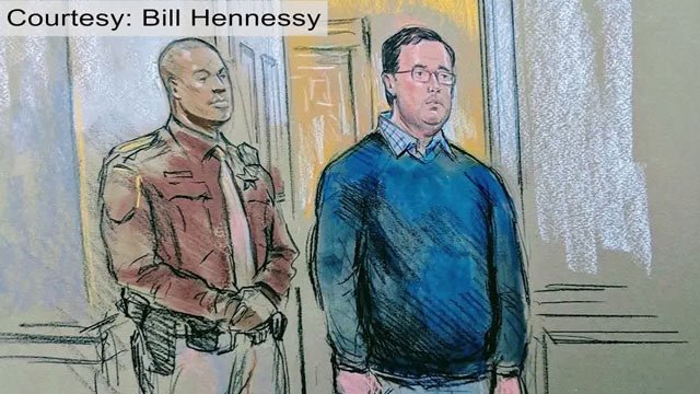 Courtroom sketch of James A. Fields, Jr. (Courtesy Bill Hennessy)