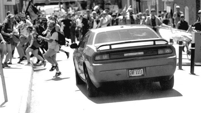 Evidence showing James A. Fields, Jr. driving toward counterprotesters on Fourth St.