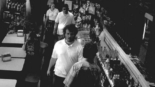 Surveillance image of Bolstad, Fields, Calhoun and Matthews on Aug. 12, 2017