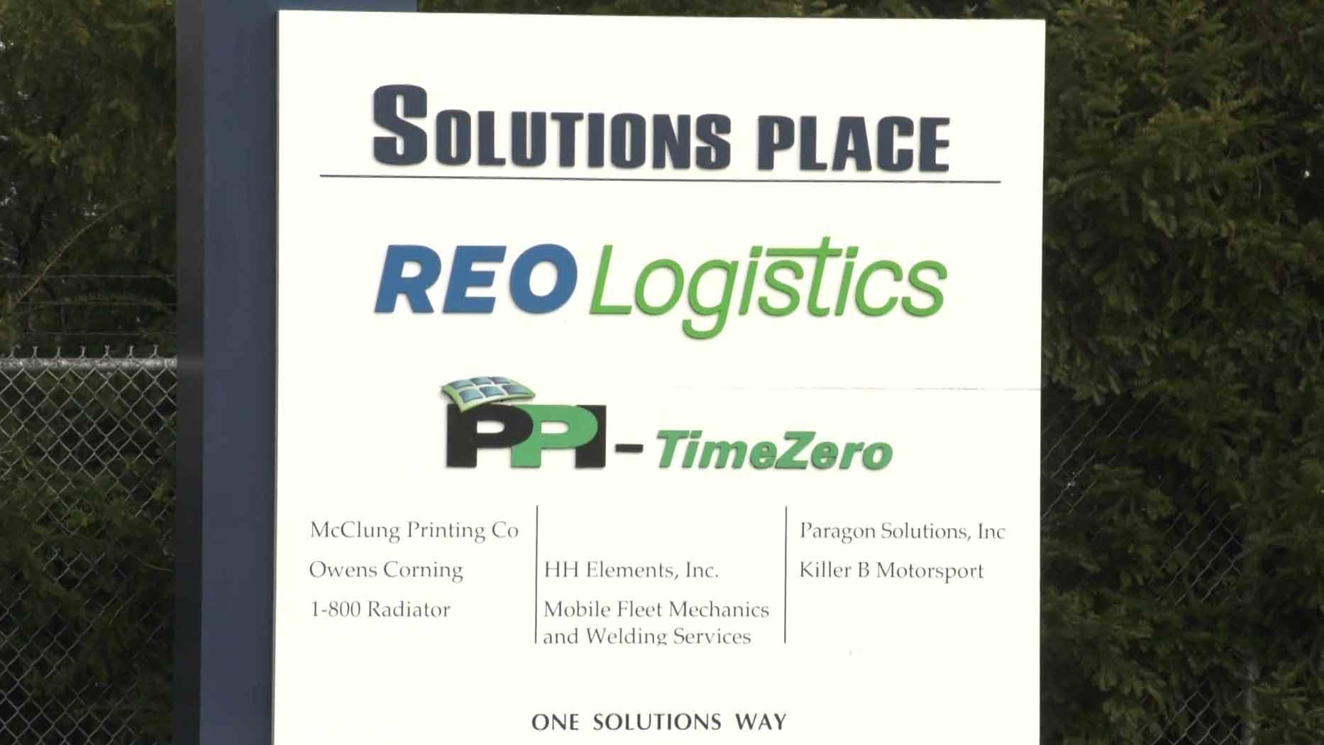 Reo Logistics sign outside the Waynesboro location.