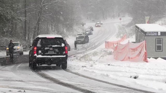 Monday's snow created dicey driving conditions in Charlottesville.