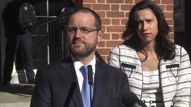 Joseph Platania and Nina-Alice Antony outside Charlottesville Circuit Court