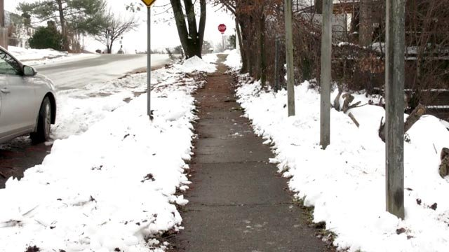 Cleared out sidewalk.