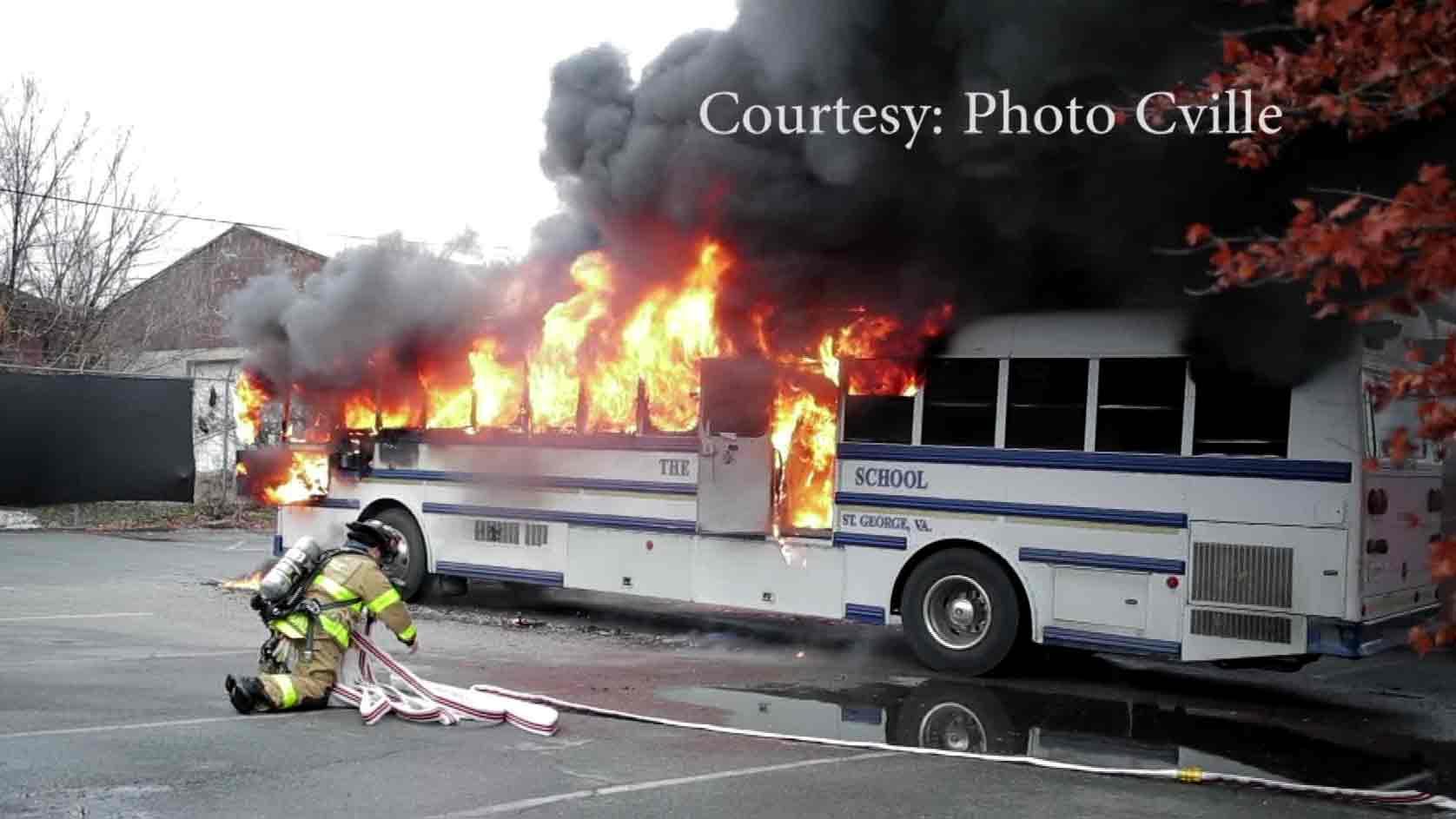 Blue Ridge School bus caught fire on Seminole Trail.