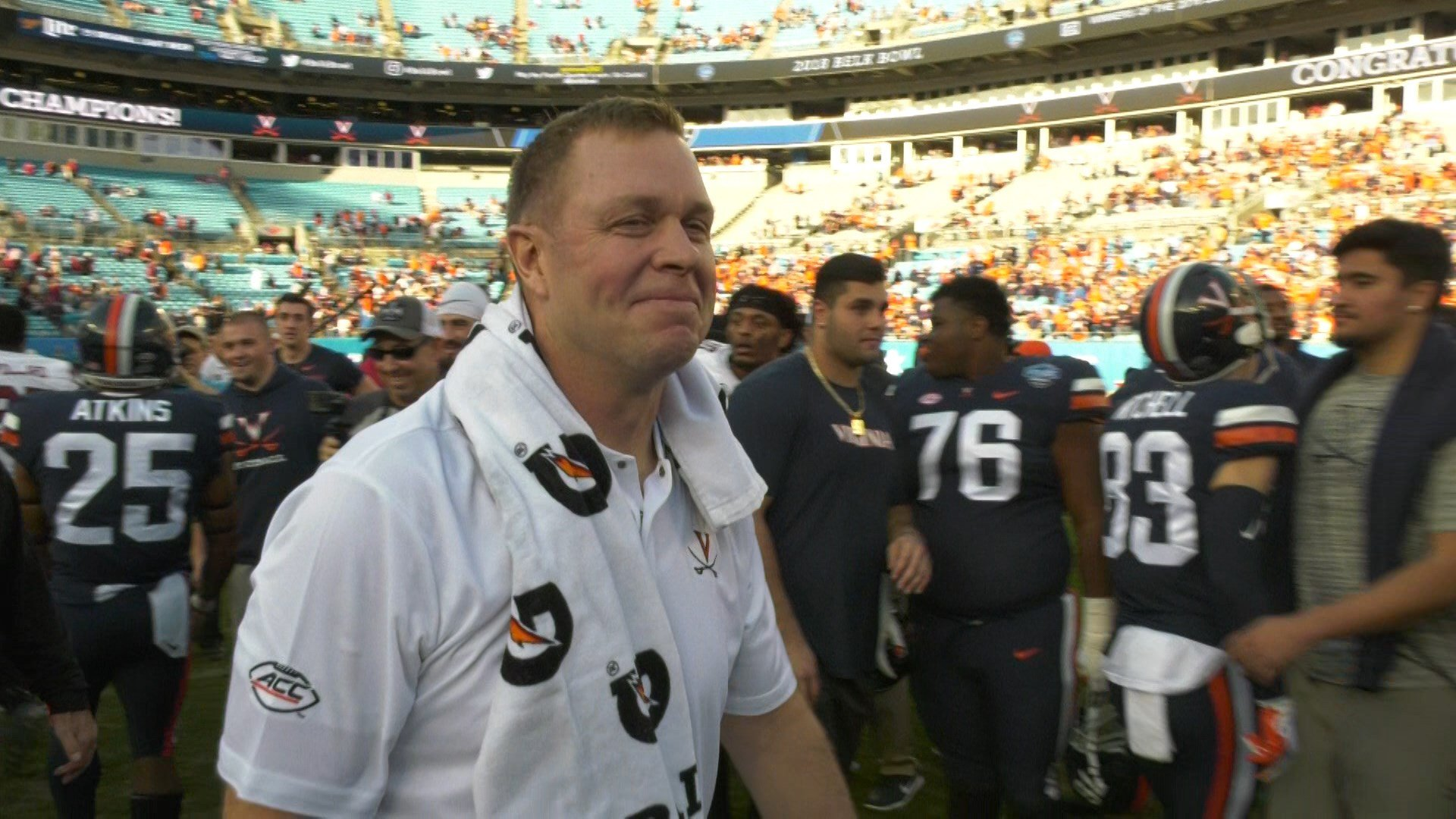 Bronco Mendenhall was all smiles following the win in the Belk Bowl