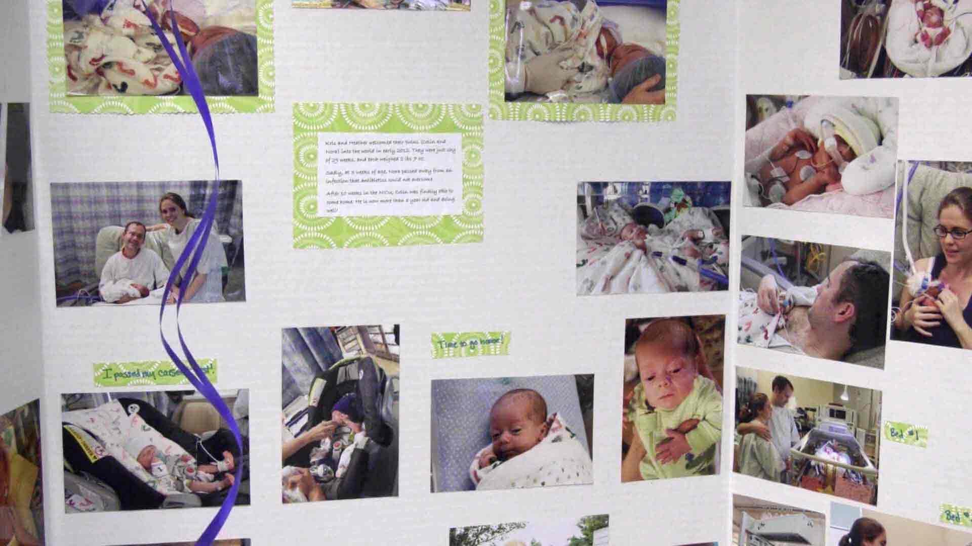 A poster-board with images of infants at the NICU.