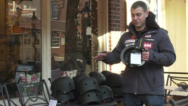 The electric scooter company Bird gave away free helmets at Mudhouse Coffee.