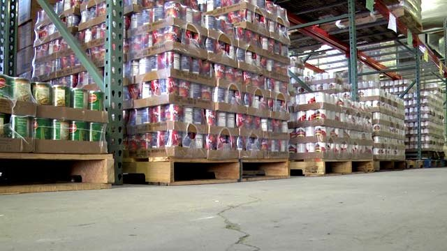 Pallets of canned food at an area food bank.