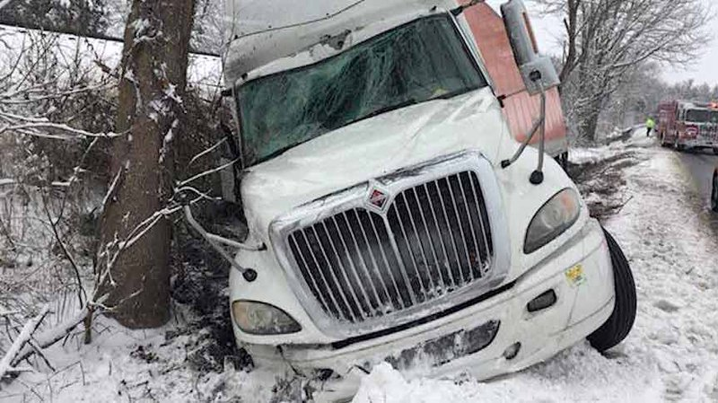 Tractor-trailer left the highway on Route 29 near Beverly Ford Road in Culpeper County.
