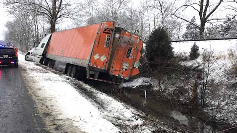 The side of the tractor-trailer that left the road on route 29.