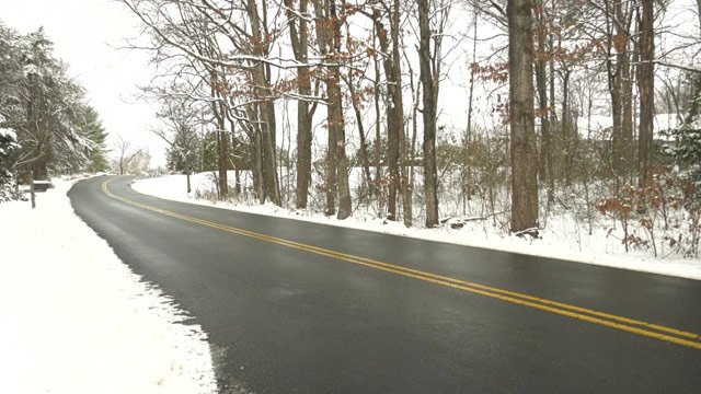 Back roads in central Virginia were mostly clear on Monday.