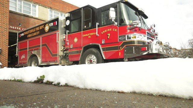 Charlottesville fire crews were on call for snow-related accidents.