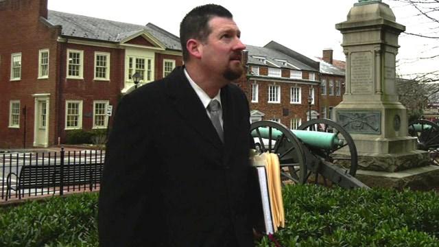 Mike Hallahan outside Albemarle Circuit Court