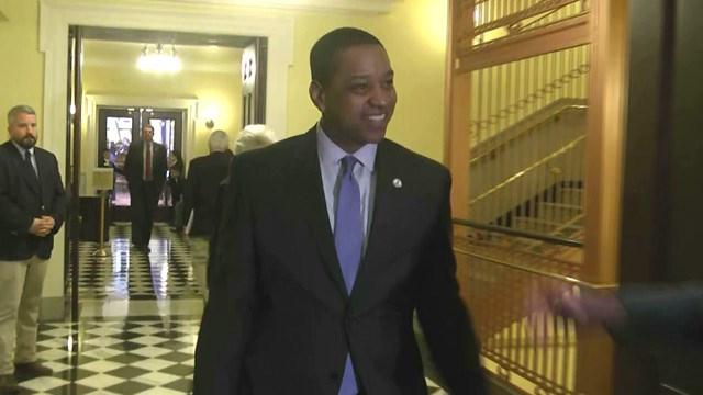 FILE PHOTO: Virginia Lieutenant Governor Justin Fairfax preparing to speak to the media