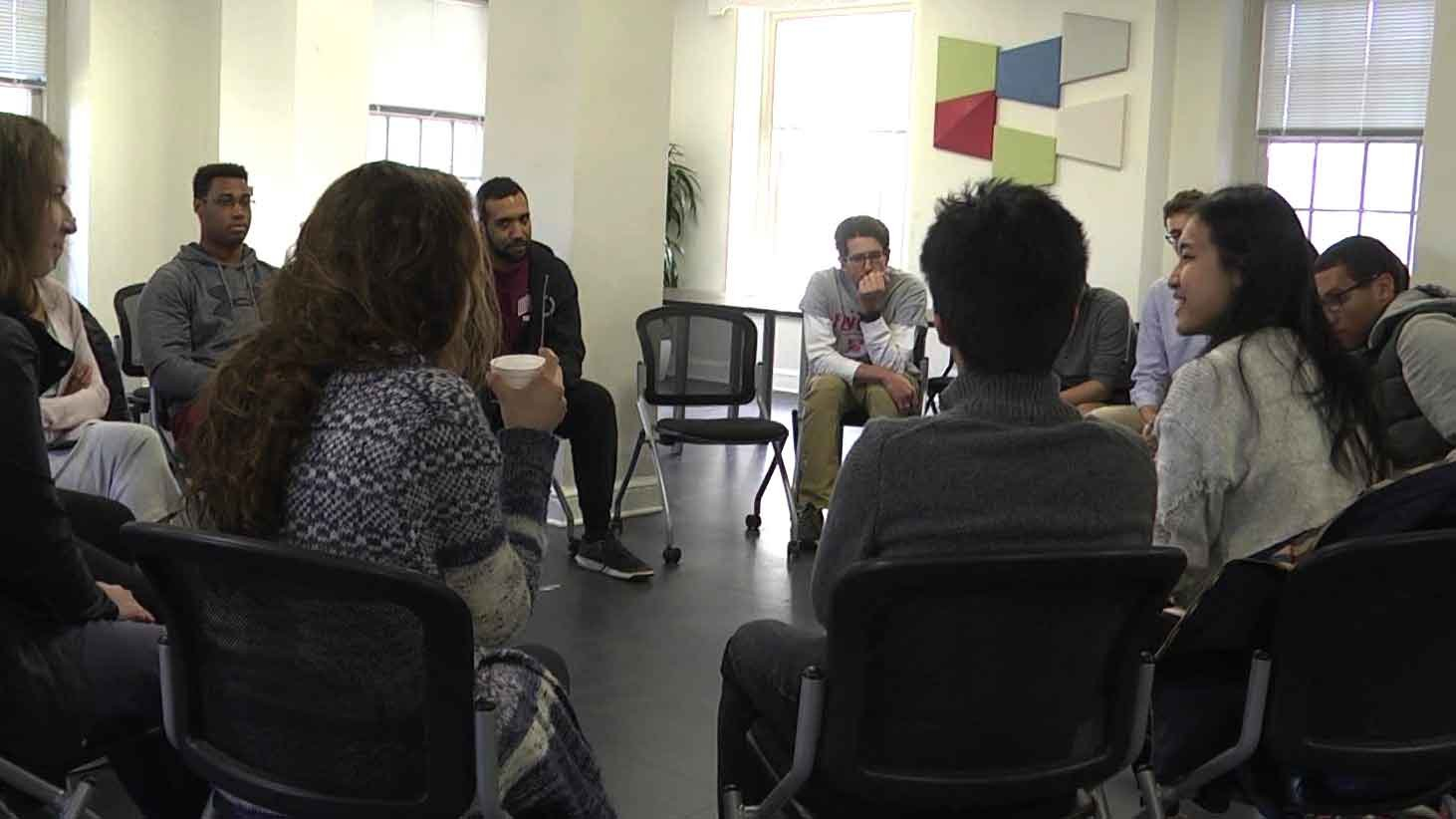 International Residential College students during discussion.