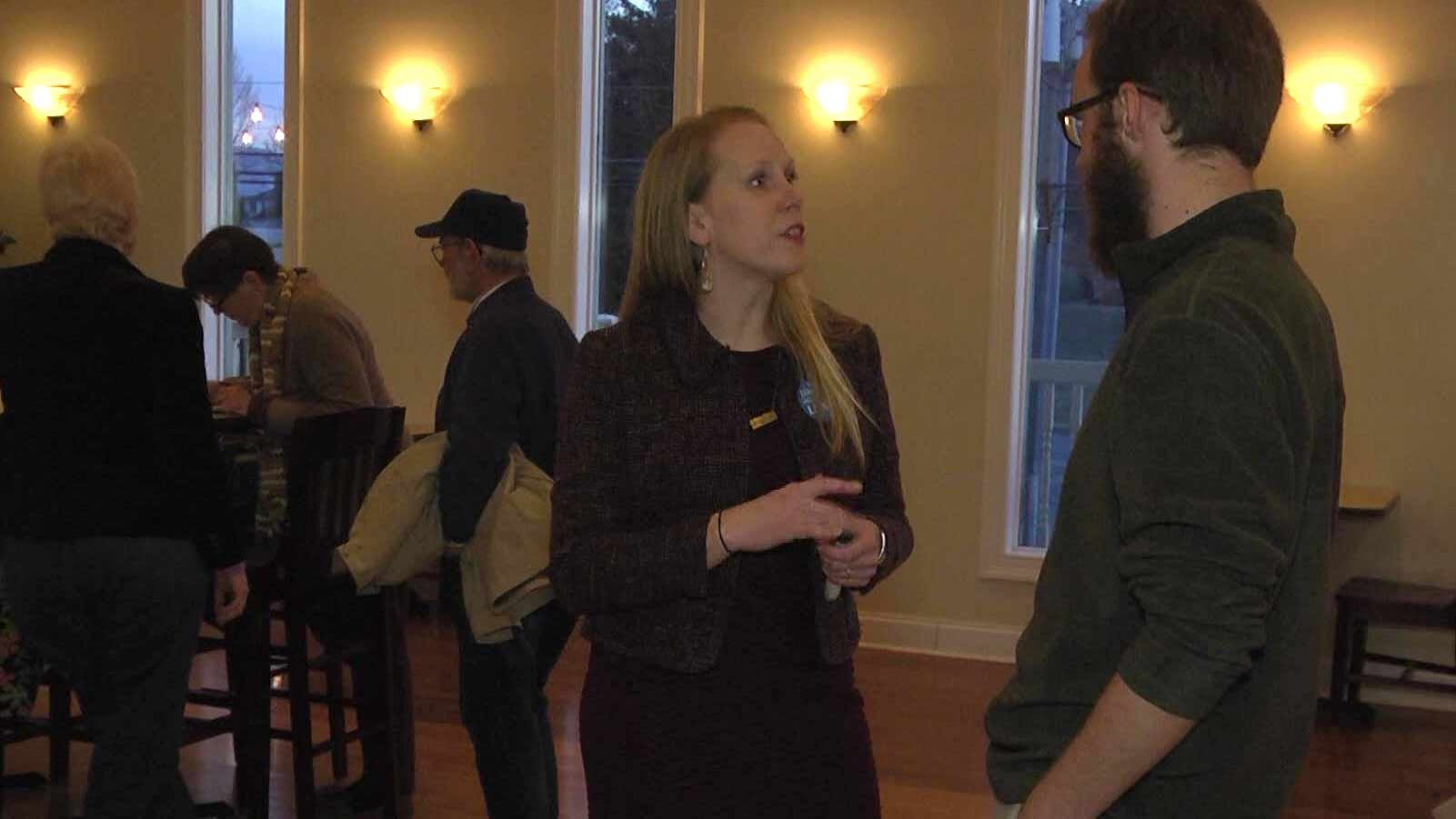Jennifer Lewis talking with one of the people in attendance at her campaign kick-off.