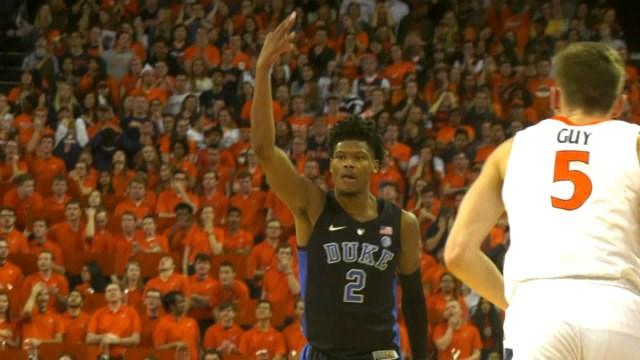 Freshman Cam Reddish hit five of Duke's 13 three-pointers