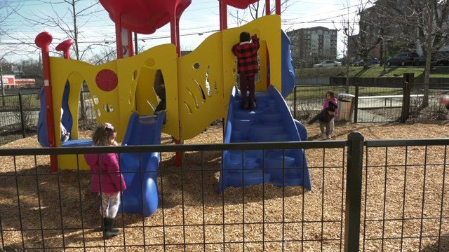 Kids played on the new playground for the first time on Feb. 13