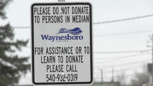 Waynesboro has put up signs to discouraging giving money to panhandlers.