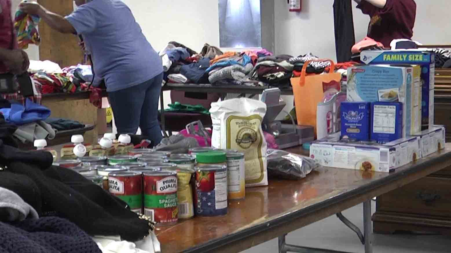 Clothing and food made available to those in the community.
