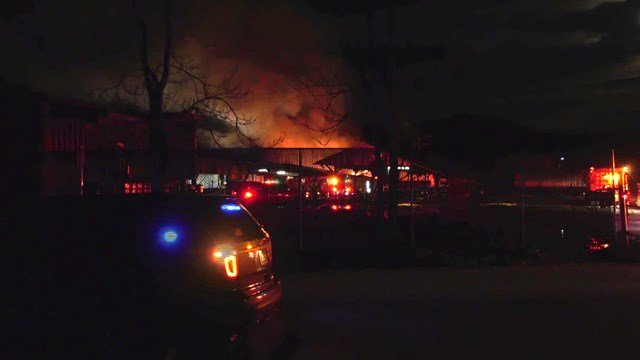 Crews on the scene of a fire at Augusta Lumber